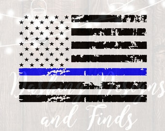 DIGITAL DOWNLOAD american flag thin blue line police officer support patriotics - cut files - svg files - silhouette - cricut