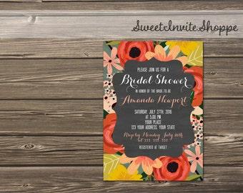 Chalkboard Floral Bridal Shower Invitation, Flowers Wedding Shower Invitation, Rustic Chalkboard Floral Bridal Shower Invite, Printable File