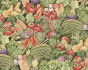 "Vegetable Fabric, Fruit Fabric: Farmer's Market - Carol's Corner Vegetables Bunch 100% cotton fabric by the yard 36""x44"" (SC179)"