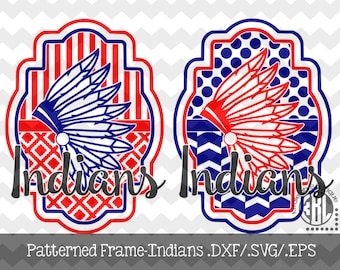 Patterned Indians Frame design INSTANT DOWNLOAD in dxf/svg/eps for use with programs such as Silhouette Studio and Cricut Design Space