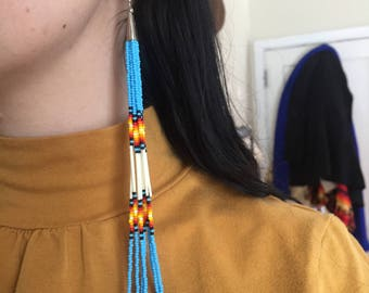 REALLY Long Seed Bead + Porcupine Quill Earrings