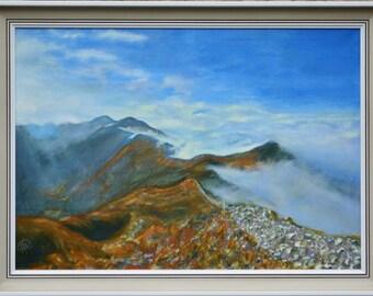 Original mountain painting , oil mountain art , mountain fine art , landscape painting , mountain wall art , mountain decoration , original