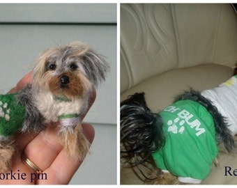 Pet Gift  Custom Dog Pin / Needle Felted Portrait of Your Pet / example Yorkie
