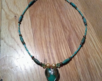 Valentine's Day Jade Green Lampworked Glass necklace