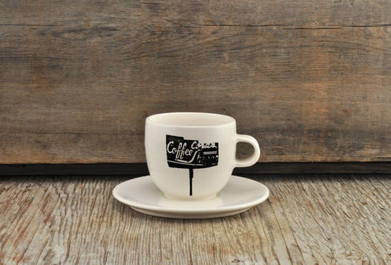 Porcelain espresso / tea cup and saucer with vintage COFFEE SHOP sign