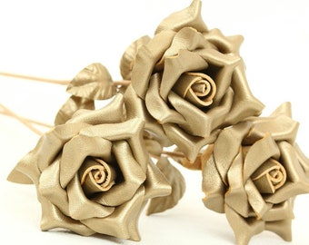3 leather rose bouquet gold third Anniversary wedding gift Long Stem Flower 3rd Leather Anniversary Mother's Day Prom