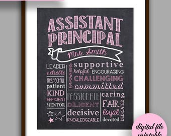 Assistant Principal Gift, Pink Assistant Principal Chalkboard Style Printable, Unique Assistant  Principal Gift, Personalized Digital File