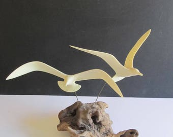 John Perry Seagulls Sculpture, Seagulls, John Perry, Sculptures, Bird Sculptures, Bird Decor, Seagull Sculptures, Beach Decor, Beach House