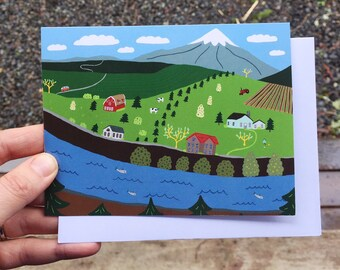 Greeting Card - Farmscape - Farm, Chicken, Outdoors, vw, Summer, birthday, Gift, illustration, PNW, garden, mountain