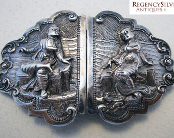 Rare Antique Ornate BURMESE (c1890) Solid Silver Hand Chased & Repousse Antique BELT BUCKLE.