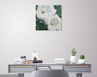 Southwest dactura original oil painting,impasto painting,desert flower art,southwest flower art,white flowers oil art,wall decor,home decor
