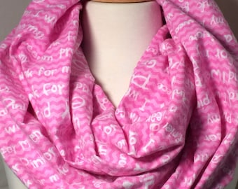 Breast Cancer Infinity Scarf Gift for her Pink Scarves Scarfs Women