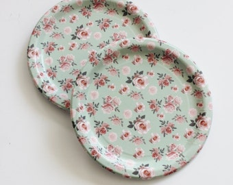 8 FLORAL TEA PARTY Paper Plates Parisian Vintage Style Shabby Chic Cottage Garden Tea Time Mint & Seafoam green plates | Etsy
