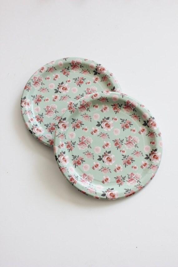 8 FLORAL TEA PARTY Paper Plates Parisian Vintage Style Shabby