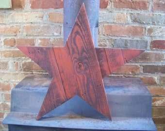 "22"" red barn wood star"