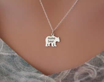 Sterling Silver Mama Bear Charm Necklace, Mama Bear Necklace, Mama Bear Pendant Necklace, Silver Mama Bear Necklace