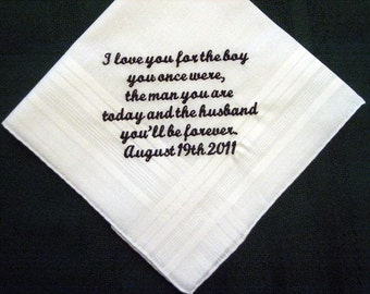 Personalized Wedding Gift from the Bride to her Groom 106S Love note for groom, Groom wedding handkerchief