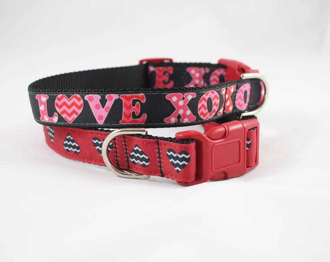 valentines day gift, XOXO, hearts dog collar, red collar, valentines dog gift, pet gifts, pet accessories, holiday dog collar,