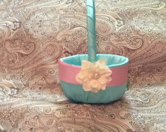 wedding flower girl basket light turquoise blue color custom made