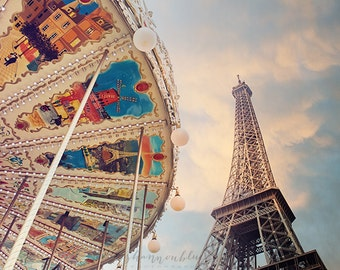 paris photography, travel photography, france, carousel, eiffel tower, paris home decor / under the carousel / 8x10 fine art photo