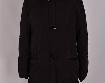 Women's Armani Jeans Winter Hooded Parka Puffa Coat Jacket Size UK 14 L Genuine