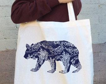 California BEAR Cotton TOTE - Hand Screen Printed Bag - made in California