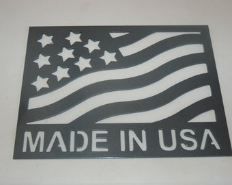 MADE IN USA plaque with flag