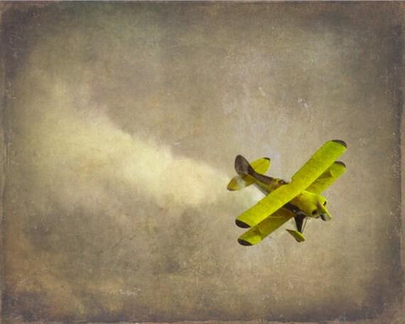Vintage Airplane Art Print Nursery Biplane Yellow Gray Decor