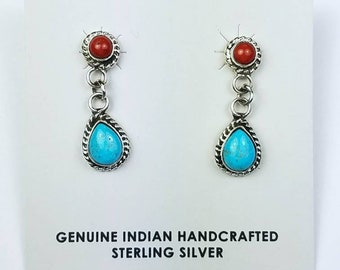 Native American Navajo handmade Sterling Silver Turquoise Coral stone stud earrings