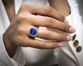 SUMMER SALE - Lapis ring,rose gold ring,14k rose gold filled,Lapis Lazuli,gemstone ring,gemstone birthstone,September ring