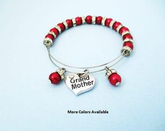 Grand Mother Pearl & Crystal Rhinestone Expandable Charm Bracelet-Grand Mother gift-Grand Mother bracelet-Wedding Party jewelry-Wedding,B273