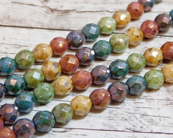 8mm - Fire Polished Beads - Picasso Glass Beads - Czech Glass Beads - Round Beads - Czech Picasso Beads - 15pcs (4941)