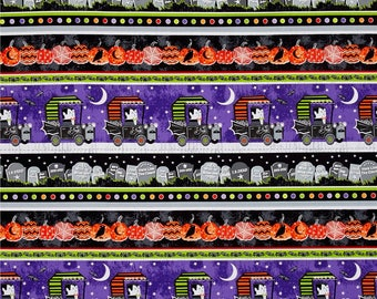 Glow in the Dark Halloween Stripes from Henry Glass's Fangtastic Collection By First Blush Studio