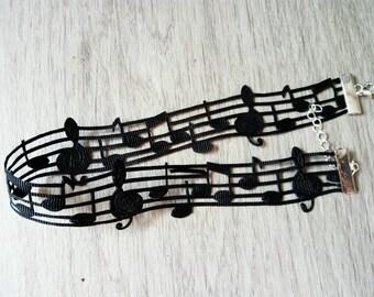 """Music choker, black choker, choker necklace, 3/4 """" choker"""