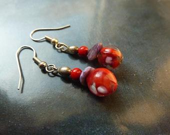 Earrings glass lampwork and gemstone beads gemstone