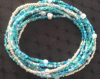 Oceanic Blue Turqoise Beaded Infinity Wrap Bracelet/Necklace