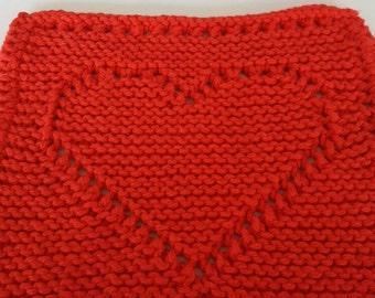 Heart Dishcloth, Set of 2, Red Heart Washcloth, Knit Red Dishcloth, Knit Washcloth, Eyelet Heart Dishcloth, Kitchen Dishrag, Valentines Day