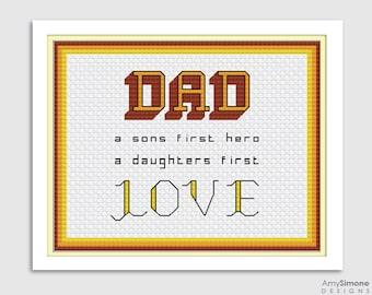4x Fathers Day Dad Daddy Cross Stitch Pattern