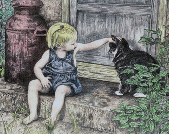"""Little Child and Cat art PRINT of my Original Graphite and Colored Pencil Drawing,""""Summer Afternoon"""", realistic handsigned vintage style art"""