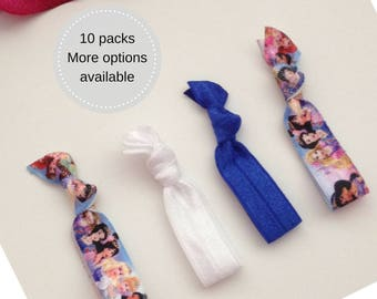 Gift ideas for girls, gift for girl disney princess hair ties, ponytail holder, girl's birthday party favour, Cinderella Belle Jasmine Tiana
