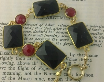 Raw Ruby and Black Onyx Bracelet