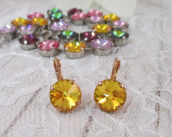 Pick your color!  Swarovski Crystal earrings, 12mm Swarovski crystal earrings, Classic round 12mm earrings, 12mm drop earrings