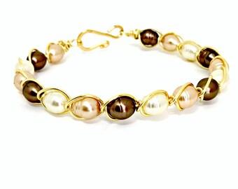 Women's Faux Pearl Bracelet Glass Pearl Bracelet Gold Wire Wrapped Faux Pearl Bracelet Charming Pearl Bracelet Faux Pearl Jewelry for Women