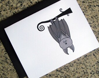 cute gray hanging upside down bat notecards / thank you notes (blank / custom inside) & envelopes - set of 10
