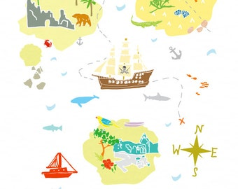 Treasure Map Art Print