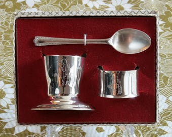 Silver Plated Poodle Christening Breakfast Set Eggcup Spoon Napkin Ring Baby Nursery 1950's