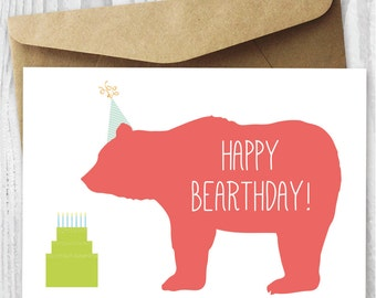 Happy Birthday Card, Kids Birthday Card Printable, Happy Bearthday, DIY Birthday Card, Bear Birthday Card, Greeting Card Digital Download