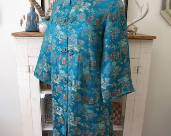 S, M opera coat, teal brocade embroidery, from China