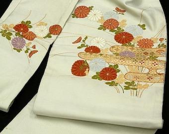Japanese Kimono Obi / Vintage Silk Obi sash / Embroidery / Nagoya-Obi / 093006