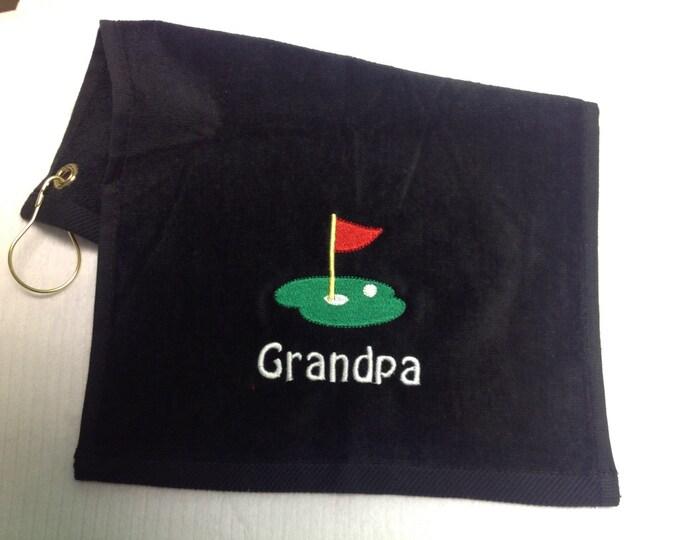 Black golf towel, Personalized golf towel, golf, monogrammed golf towel, embroidered golf towel, golf birthday, golf gift, golf accessorys,